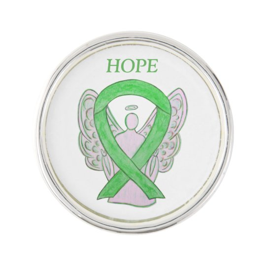 Lime Green Awareness Ribbon Angel Custom Lapel Pin