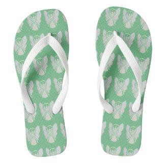 Lime Green Awareness Ribbon Angel Flip Flops