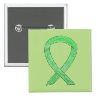 Lime Green Awareness Ribbon Art Lapel Pin