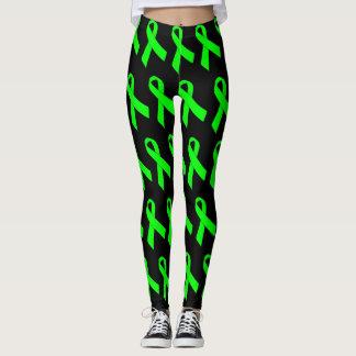 Lime Green Awareness Ribbon (several backgrounds) Leggings
