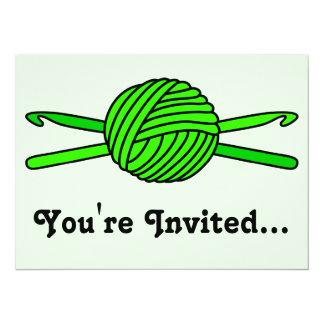 Lime Green Ball of Yarn & Crochet Hooks -Version 2 Card