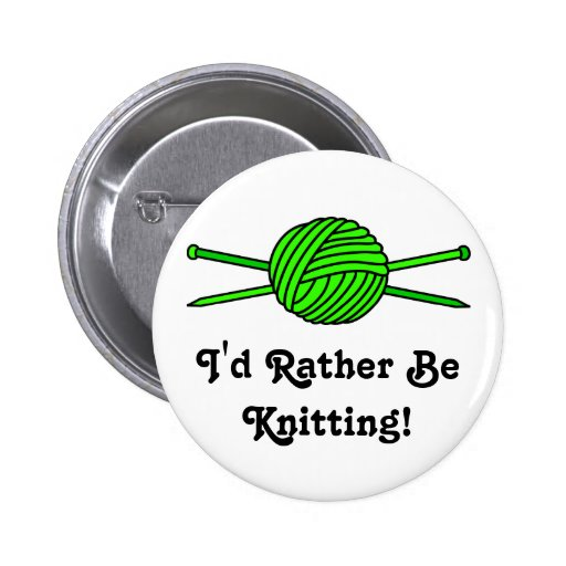 Lime Green Ball of Yarn & Knitting Needles Buttons