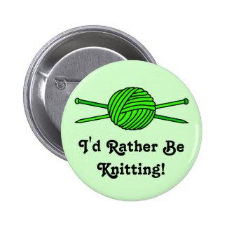Lime Green Ball of Yarn & Knitting Needles Pin