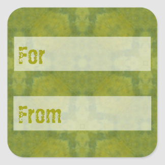 Lime Green Batik Style Gift Tag Square Sticker