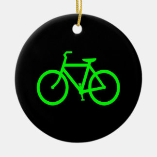 Lime Green Bike Ceramic Ornament
