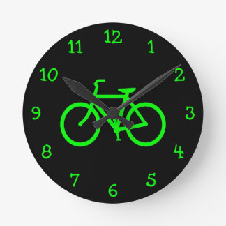 Lime Green Bike Round Clock