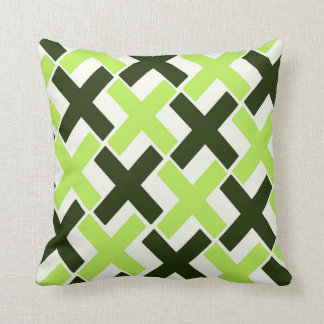 Lime Green,Black and White Xs Throw Pillow