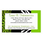 Lime Green & Black Animal Print Zebra and Leopard
