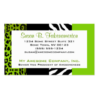 Lime Green & Black Animal Print Zebra and Leopard Business Cards