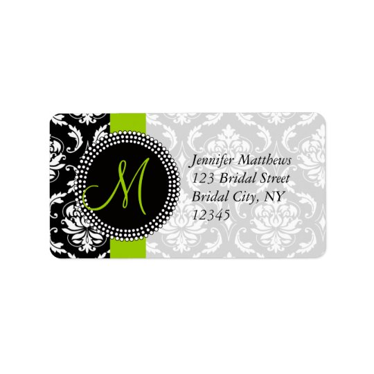Lime Green Black Damask Address Labels for Wedding