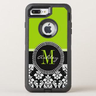 Lime Green Black Damask Pattern Monogrammed OtterBox Defender iPhone 8 Plus/7 Plus Case