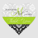 Lime Green Black Damask Wedding Favour Heart Seal