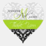 Lime Green Black Damask Wedding Favour Heart Seal Heart Sticker