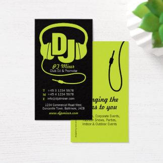 Lime green & black DJ promoter business card