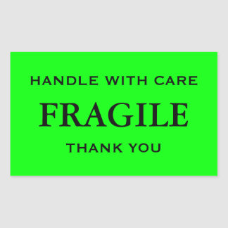 Lime Green/Black Fragile. Handle with Care. Sticker