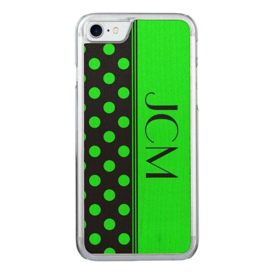 Lime Green/Black Polka Dot Monogram Carved iPhone 8/7 Case