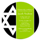 Lime Green Black Star of David Round Bar Mitzvah Card