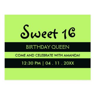 Lime Green Black Stripes | Sweet Sixteen Birthday Postcard