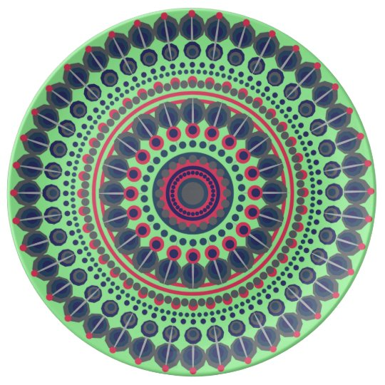 Lime green, blue and red Mandala decorative Plate Porcelain Plate