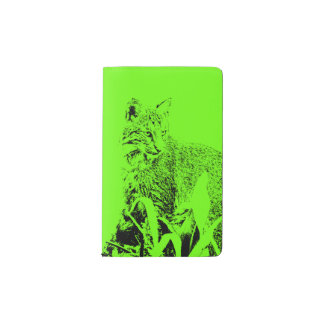 Lime Green Bobcat Portrait Notebook Cover