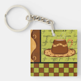 Lime Green Brown Coffee Cup Checkerboard Art Double-Sided Square Acrylic Keychain