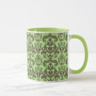 Lime Green & Brown Damask Mug