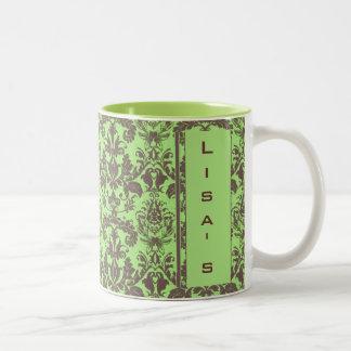 Lime Green & Brown Damask Two-Tone Coffee Mug