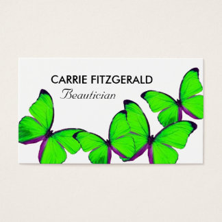 Lime Green Butterflies, Beautician Business Card