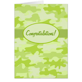Lime Green Camo Camouflage Congratulations Custom Card
