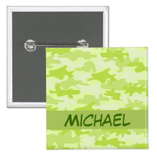 Lime Green Camo Camouflage Custom 2 Inch Square Button
