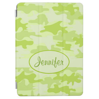 Lime Green Camo Camouflage Name Personalized iPad Air Cover