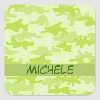 Lime Green Camo Camouflage Name Personalized Square Sticker