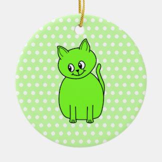 Lime Green Cat. Ceramic Ornament