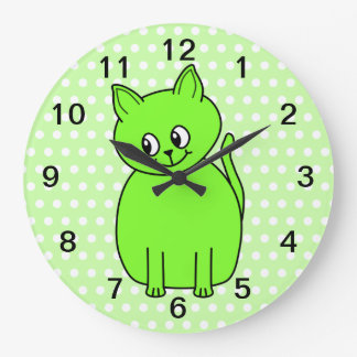 Lime Green Cat. Large Clock