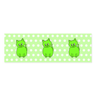 Lime Green Cat. Mini Business Card