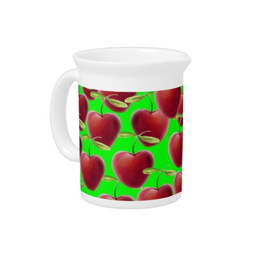 Lime Green Cherry Splash Beverage Pitcher