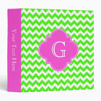 Lime Green Chevron Hot Pink Quatrefoil Monogram 3 Ring Binders