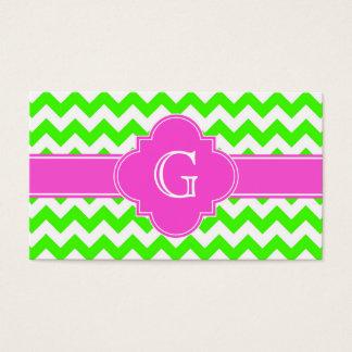 Lime Green Chevron Hot Pink Quatrefoil Monogram Business Card