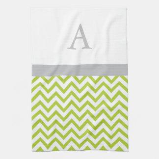 Lime Green Chevron Monogram Kitchen Towel