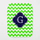Lime Green Chevron Navy Blue Quatrefoil Monogram Burp Cloth