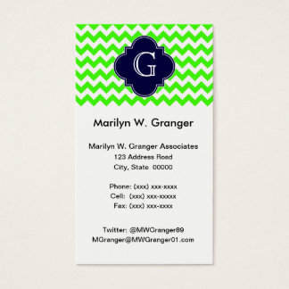 Lime Green Chevron Navy Blue Quatrefoil Monogram Business Card