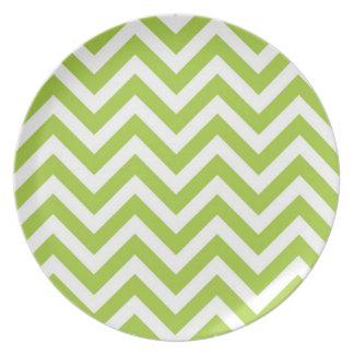 Lime Green Chevron Plate