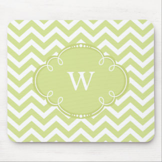 Lime Green Chevron with Monogram Mouse Pad
