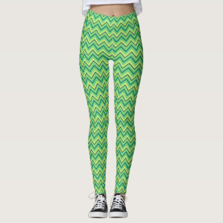 lime green chevron zigzag all over printed legging