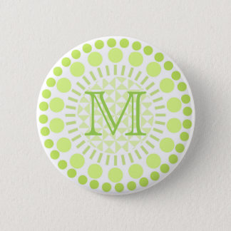 Lime green Circles Customisable Monogram Badge 2 Inch Round Button