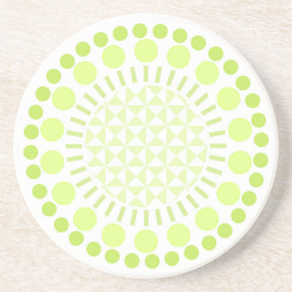 Lime Green Circles Sandstone Coaster