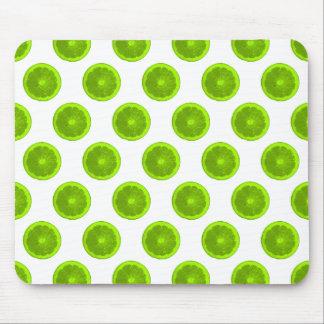 Lime Green Citrus Slice Polka Dots Mouse Pad