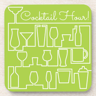 Lime green cocktail party coaster