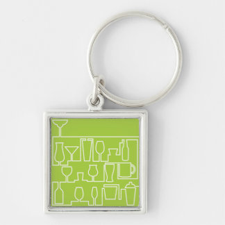 Lime green cocktail party keychain