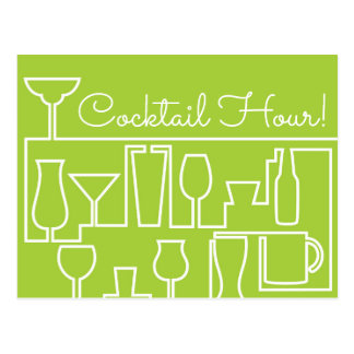 Lime green cocktail party postcard